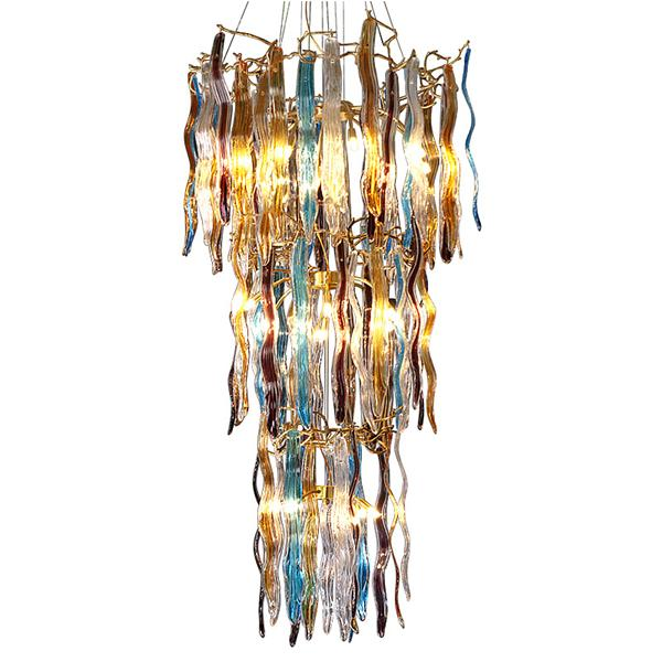Colored ribbed glass stair chandelier