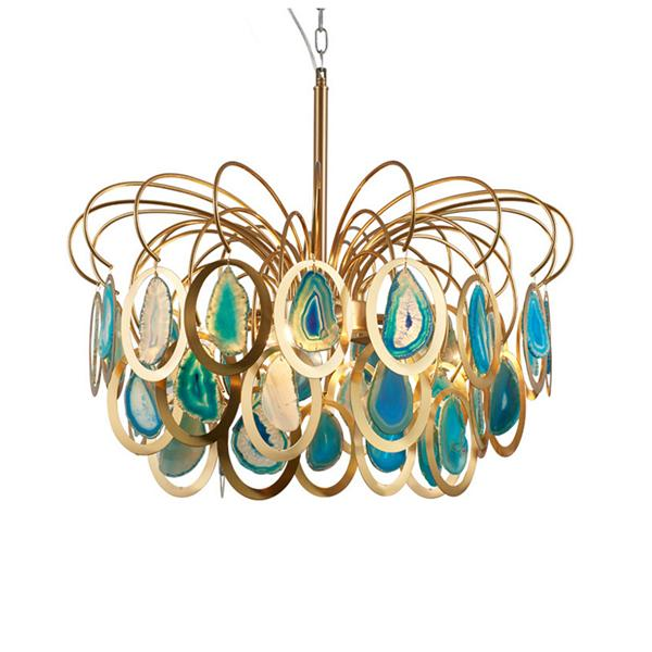 Color agate piece chandelier living room lamp